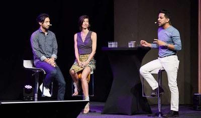 Vishen, Renee & Akira on stage at Mindvalley University